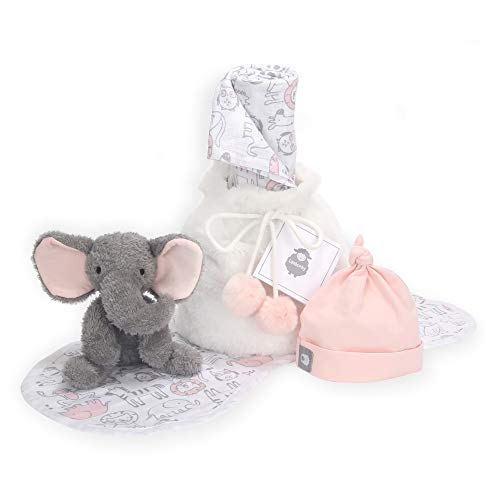Lambs & Ivy 5 Piece Pink/Gray Baby Gift Bag for Infant/Newborn Baby Shower Gift