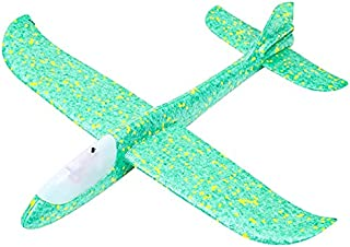 Mumoo Bear Airplane Toys, 18.9 Inches Large Throwing Foam Plane, 2 Flight Mode Glider with LED Lights, Flying Toy for Kid...