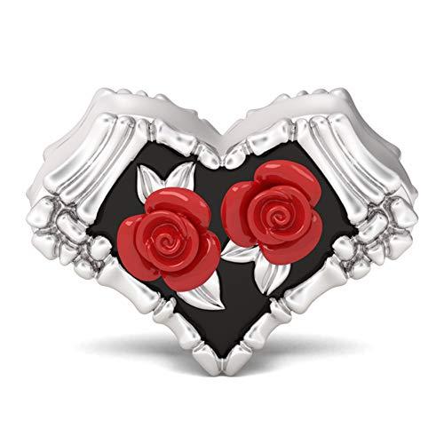 GNOCE Dije De Cuentas De Esqueleto De Rosa Roja Gótica Plata De Ley 925 Chapado En Negro Love Will Never Fade para Pulsera Collar Joyería Regalo para Mujer