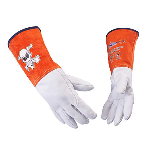 FOOWOO Goatskin TIG Leather Welding Gloves with Kevlar thread, White-Orange, with 5.7 inches Long Cowhide Cuffs, 13