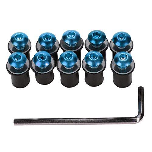 ihreesy 10 piezas M5 Perno de Parabrisas,Tornillos de Sujeción de Parabrisas Kit Universal de Motocicleta para Parabrisas Compatible con F4i CBR1000RR CB400 VFR800,Azul