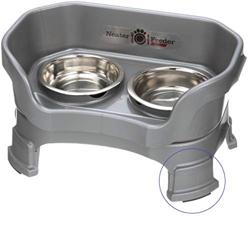 Neater Pet Brands Neater Feeder Deluxe for Cats with Leg Extensions – Elevated Food & Water Bowls – Mess-Free Raised Feeder, Gunmetal Gray