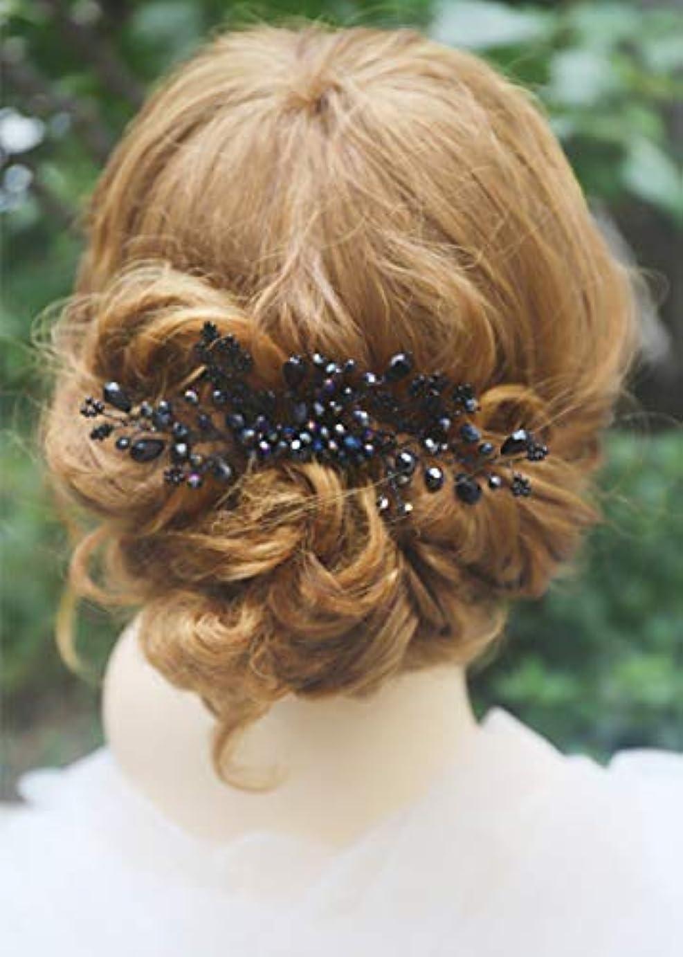 勝つ咽頭要件Missgrace Women Black Crystal Hair Comb Special Occasion Headpiece Black Women Hair Accessories [並行輸入品]