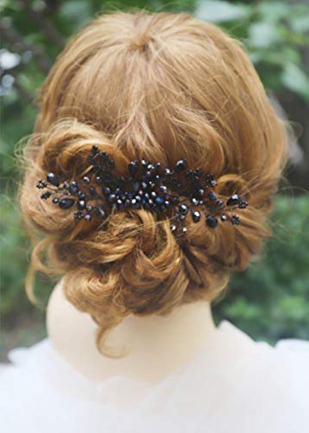 接続努力するスツールMissgrace Women Black Crystal Hair Comb Special Occasion Headpiece Black Women Hair Accessories [並行輸入品]