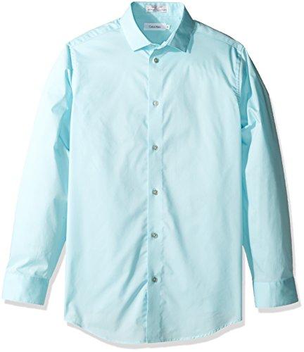 Calvin Klein Big Boy's Long Sleeve Solid Stretch Poplin Shirt, Light Teal, 18