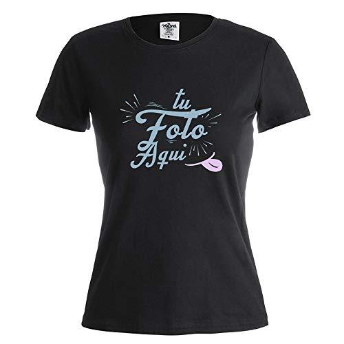 PROMO SHOP Camiseta Personalizada Mujer (Foto o Logo) Negra · Manga Corta/Talla L · 100% Algodón · Impresión Directa (DTG) · Estas Camisetas Personalizas Se Imprimen Directamente sobre el Tejido