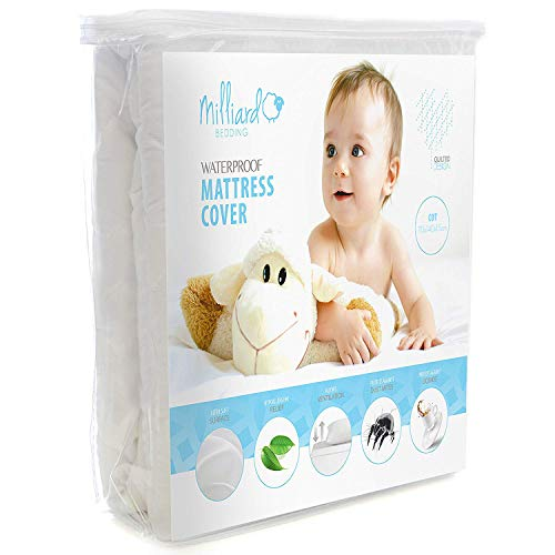 Milliard Waterproof Cot Bed Mattress Protector - 70 x 140 x 15 cm, Premium Quilted Hypoallergenic Fitted Cover with Extra Padding