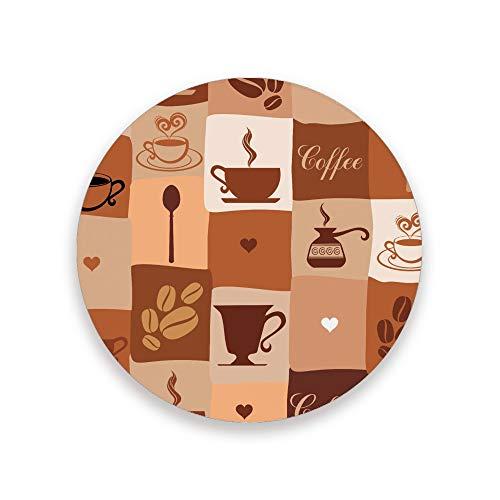 Posavasos absorbentes para bebidas, 2 unidades, diseño vintage con iconos de café redondos de cerámica con base de corcho para mesa de madera, regalo de inauguración de la casa