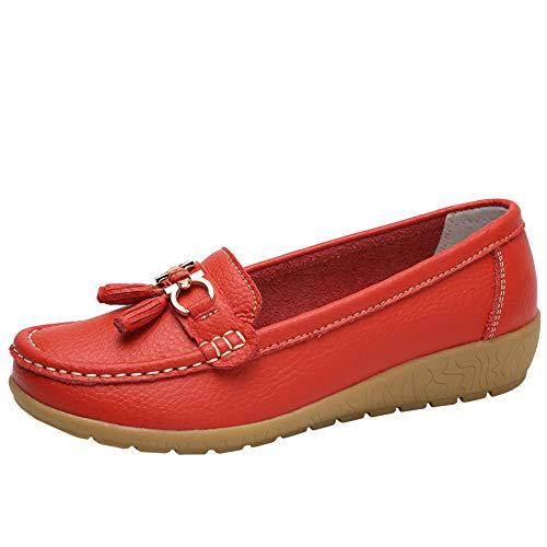 Luckhome Klettverschluß Sandalen Socken Wechselfußbett Damen Schuhe Frauen Casual Wedges Soft Bottom Outdoor Freizeit Leichte Peas Boat Shoes(rot,EU:37)