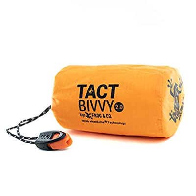 Tact Bivvy 2.0 Emergency Sleeping Bag, Compact Ultra Lightweight, Waterproof, Thermal Bivy Sack Cover, Emergency Shelter Survival Kit – w/Stuff Sack, Carabiner, Survival Whistle + ParaTinder (Orange)