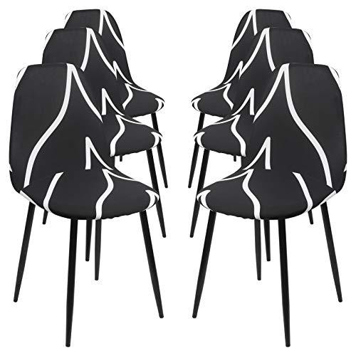 Ryoizen Stuhlhussen 6er Set Drucken Strech Esszimmerstühle Bezug Universal Küchenstühle Husse Stuhlabdeckung Schwingstühle Spannbezug Elegante Stuhlbezüge