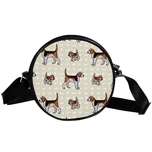 Bandolera redonda pequeña bolso de señoras moda Bolsas de hombro bolsa de mensajero bolsa de lona bolsa de cintura accesorios para mujeres - Cachorro y perro de caza de Foxhound