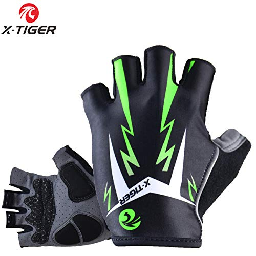 X-TIGER Cycling Gloves Mountain Bike Gloves Road Racing Bicycle Gloves Light 3D GEL Pad Riding Gloves Half Finger Biking Gloves Men/Women Work Gloves (Green,XL)