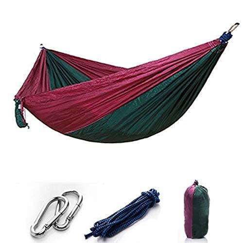WSYGHP Hamaca de camping individual y doble, ligera para paracaídas portátil para senderismo, viajes, mochileros, playa, equipo de patio, hamaca de 260 x 140 cm (color D: D)