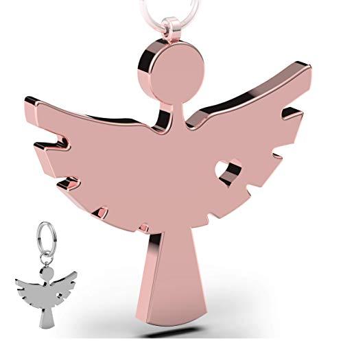 (2 Stück) Schutzengel Schlüsselanhänger in Schmuckbox | Eleganter Engel Anhänger aus Metall in matt strahlendem Roségold | Glücksbringer Geschenk Auto Führerschein | Fahr vorsichtig tinalina