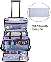 Luxja Rolling Sewing Machine Bag with Removable Pad and Shoulder Strap, Rolling Tote Bag for Sewing Machine and Extra Sewing Accessories, Purple