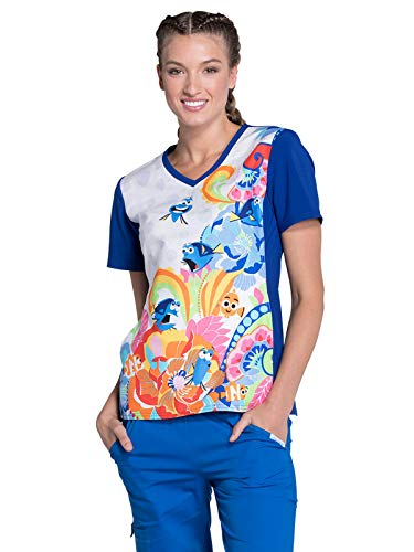 Tooniforms V-Neck Scrub Top, S, Fluent in Whale
