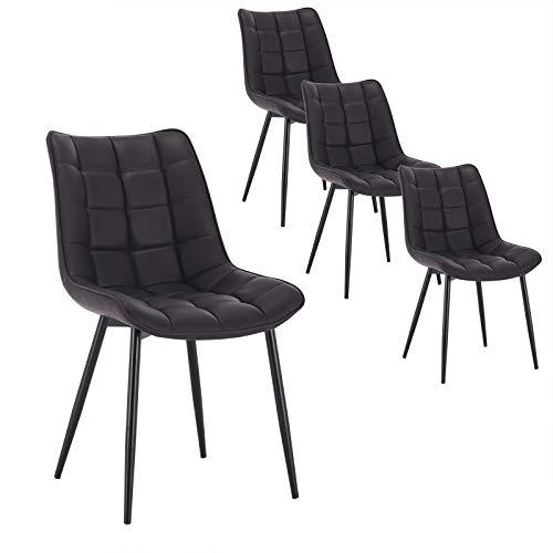 WOLTU 4 x Esszimmerstühle 4er Set Esszimmerstuhl Küchenstuhl Polsterstuhl Design Stuhl mit Rückenlehne, mit Sitzfläche aus Kunstleder, Gestell aus Metall, Anthrazit, BH207an-4