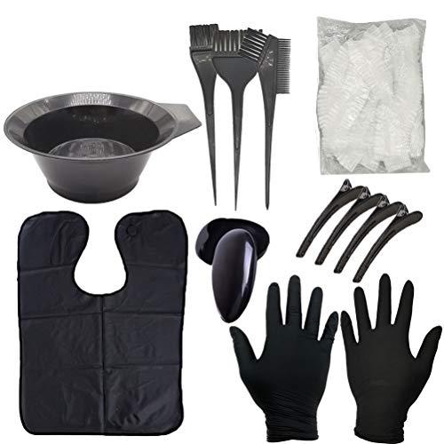 Cavestoff 9 Stücke DIY Haarfärbe Farbe Kit Haarfärbe Werkzeug Set Haar Färbung Cap Handschuhe Pinsel Haarfärben Schale Haar Farbe Farbe Schale Kamin für Salon und Zu Hause verwenden