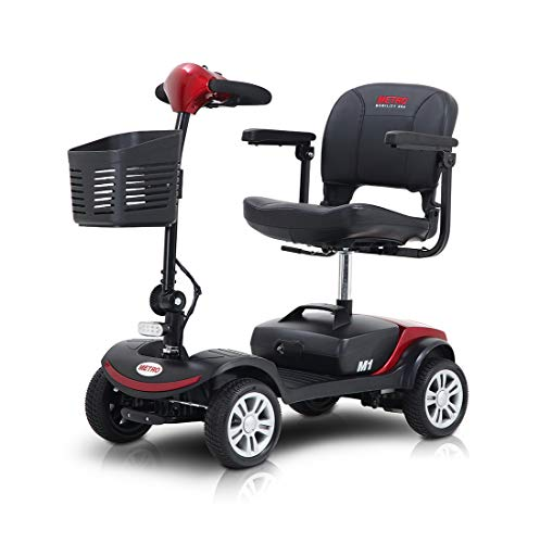 Folding Mobility Scooter for Adults and Senior, Motorized Electric Scooter with Head Light and Rear Brake Light, Improved Battery for Long Range Driving and Travel, 4 Wheel (Red)