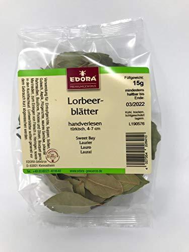 Premium Qualität Gewürz EDORA Beutel Tüte Lorbeerblätter Lorbeer Blätter handverlesen 15 Gramm