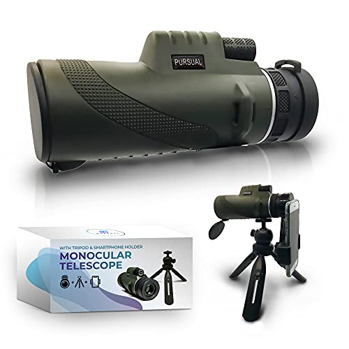 Monocular Telescope with Smartphone Holder & Tripod | 12x50 Adults High Definition Waterproof Scope | FMC HD Lens & Scope For Bird Watching, Camping, Hiking & Other Outdoor Activities | UK Brand