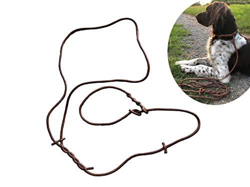 Hundeleine mit Zuziehstopp aus Echt-Leder Braun | Hunde-Leine Jagd-Leine Führer-Leine Leder-Leine Freizeit-Leine Moxon-Leine | 100% Handarbeit | 7mm Rundleder