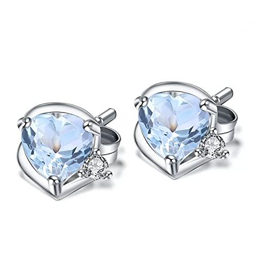 WLLLTY Pendientes, Pendientes de Tachuela en Forma de corazón de topacio Azul Cielo, Pendientes de Plata de Ley 925 con Piedra Natal, Pendientes para Mujer, joyería