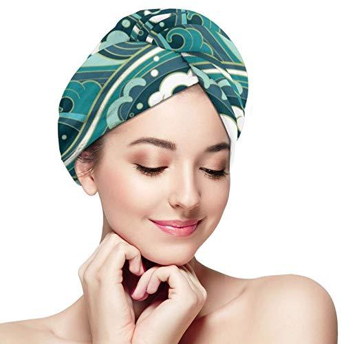 Toalla de pelo de microfibra abrigo ondas de agua turbante toalla súper absorbente rápido cabello secado gorras sombrero