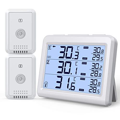 最新版 デジタル温湿度計 冷蔵庫温湿度計 外気温度計 ワイヤレス 温度湿度計 室内 室外 二つ外部センサー 高精度 LCD大画面 バックライト機能付き 最高最低温湿度 快適レベル 温度と湿度傾向図表示 華氏/摂氏表示 置き掛け両用 温室 ペット 温度管理