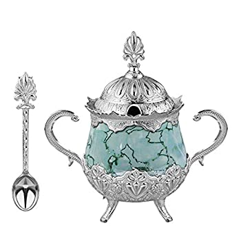 LaModaHome Silver Sugar Bowl with Spoon and Lid for Home Kitchen and Wedding Party Delight and Chocolate Serving Stylish Design for Cube and Powder Sugar - Water Green