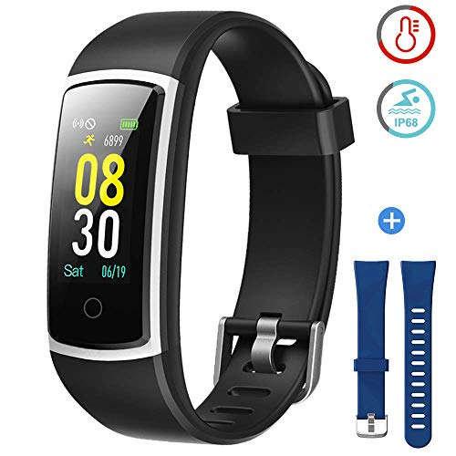 YAMAY Fitness Tracker with Blood Pressure Monitor Heart Rate Monitor,IP68 Waterproof Activity Tracker 14 Mode Smart Watch with Step Counter Sleep Tracker,Fitness Watch for Women Men (V_Black+Blue)