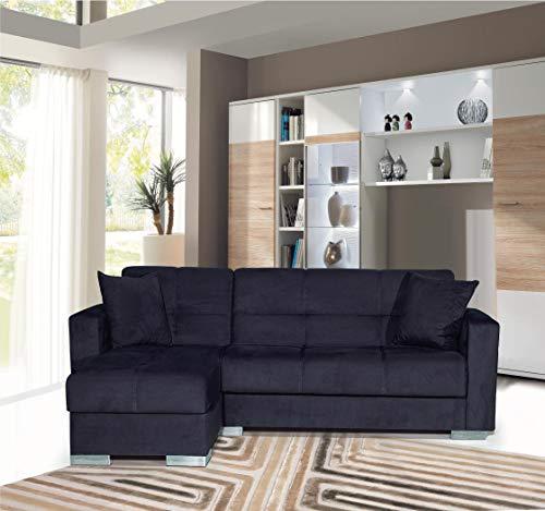 Divano letto angolare Avada Chaise Loung reversibile Destra o Sinistra angolare con contenitore 3 posti 212 x 145 cm (Nero)