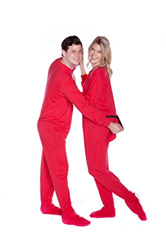 Red Cotton Jersey Knit Adult Footed Pajamas Onesie w/Drop seat