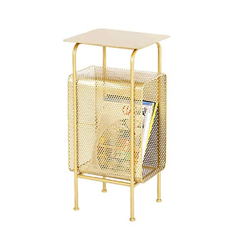 HAOXIANG Nordic Metal Side Table, Gold Rechteckig 2-Tier End-Table Mit Magazin Raum, Modernen Einfacher Garten Magazine Rack-Multifunktions Side Accent Set, Gold