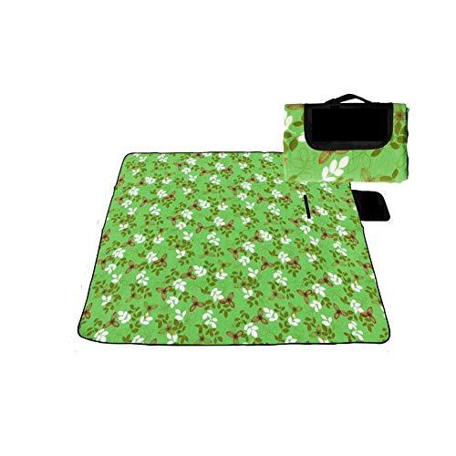 FGHCHMY Picnic Mat Manta de Parque Mat de Playa para Camping Manta de Exterior Manta de Picnic Plegable Liviana Resistente al Agua con Respaldo Impermeable (Color: Verde Blanco)
