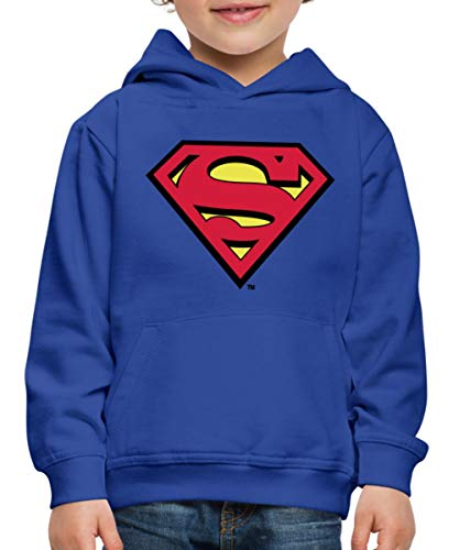 DC Comics Superman Logo Original Kinder Premium Hoodie, 110-116, Royalblau