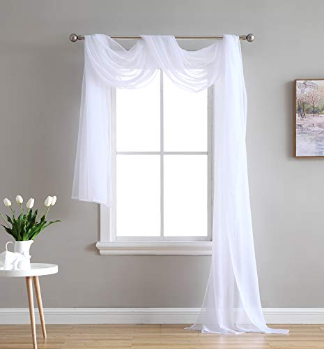 HLC.ME White Sheer Window Scarf - Valance - Fully Stitched & Hemmed - 55' x 216' Inch Long