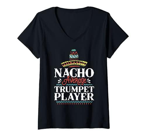 Mujer Nacho Trompeta Promedio Cinco De Mayo Trompeta Divertida Camiseta Cuello V