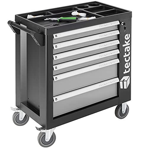 tectake 403386 Werkzeugwagen gefüllt mit Werkzeug, 1399-tlg, Werkstattwagen mit 6 Schubladen, 4...