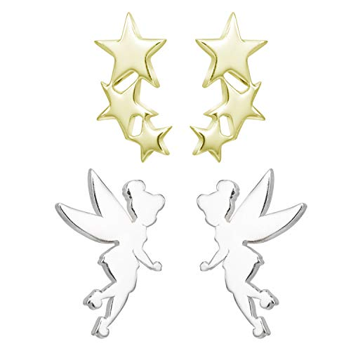Disney Tinkerbell Earrings, 2 Pairs Stud Earring Set, Sterling Silver Fairy and Stars, Official Licensed Jewelry for Women and Girls