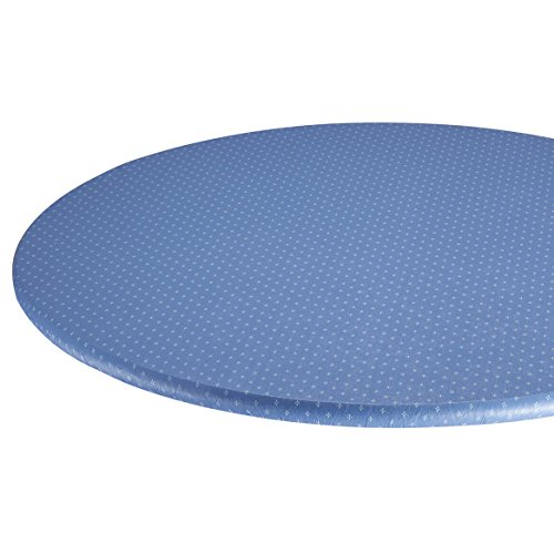 Miles Kimball Original Elasticized Vinyl Table Cover with Fleece Backing in 3 Sizes, Reusable Blue