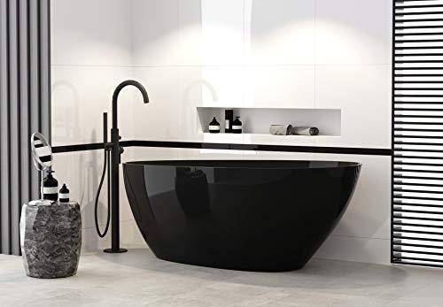 Besco Goya black 160x70cm exklusive freistehende Badewanne in Schwarz + Ablaufgarnitur Click Clack (Schwarz)