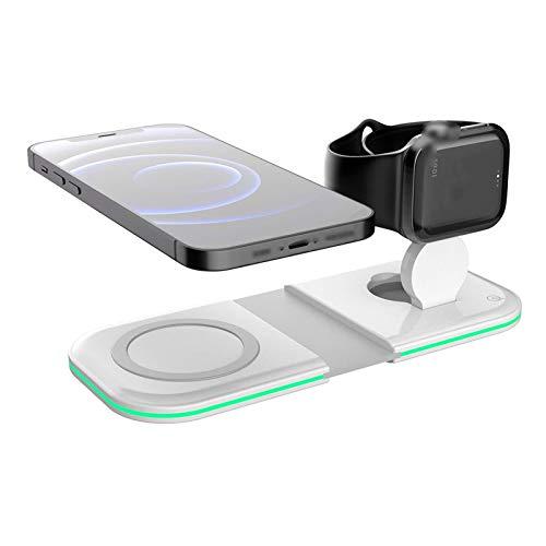 Soporte para teléfono móvil plegable de carga inalámbrica rápida para iPhone 12 Pro Max Mini iWatch y AirPods, cargador inalámbrico magnético 2 en 1, compatible con la estación de carga inalámbrica QI