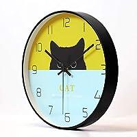 MJK 目新しさの壁時計、サイレント非カチカチ音をたてるbaeryが動作するリビングルームキッチンオフィスの寝室の装飾的な壁時計、創造的なpaern時計30 Cm,B,12インチ