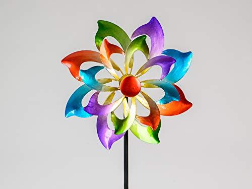 Formano Buntes Windrad Blume 122x30 cm Gartenstecker Windspiel Gartendeko Blumenstecker