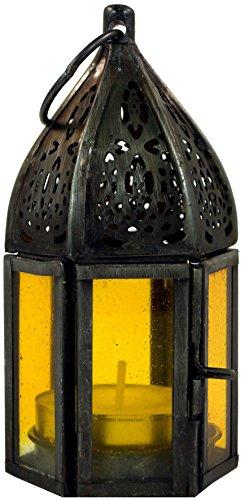 Guru-Shop Oosterse Metalen/glazen Lantaarn in Marokkaans Design, Lantaarn Klein in 6 Kleuren, Geel, Glas, Kleur: Geel, 11,5x5x5 cm, Oosterse Lantaarns