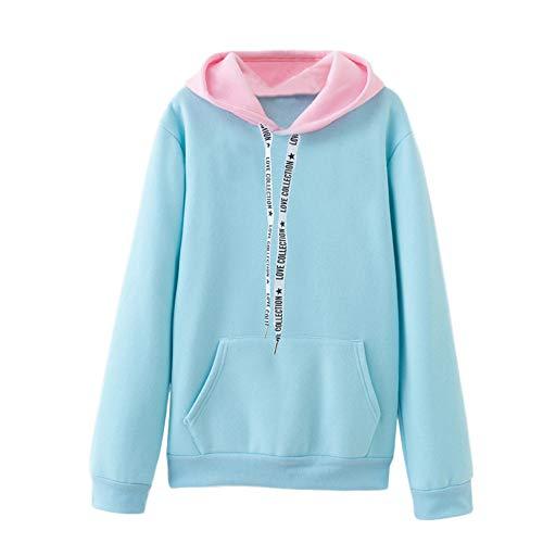 Xmiral Damen Sweatshirt Langarm Warme Farbe Kordelzug Lässige Kapuzenpullover Top Bluse (XL,Himmelblau)