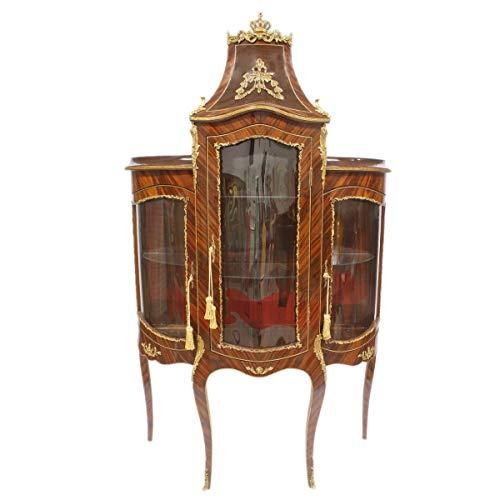 Casa Padrino Barock Glas Vitrine Vitrinenschrank - Barock Möbel - Vitrinenschrank 125 x 50 x H 198 cm - Wohnzimmerschrank Schrank Mahagoni/Gold