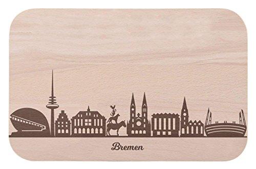 Frühstücksbrettchen Bremen mit Skyline Gravur - Brotzeitbrett & Geschenk für Bremen Stadtverliebte & Fans - ideal auch als Souvenir